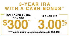 3 year IRA with cash bonus